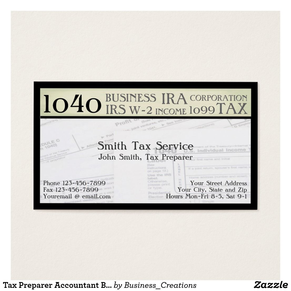 Tax Preparer Accountant Business Card