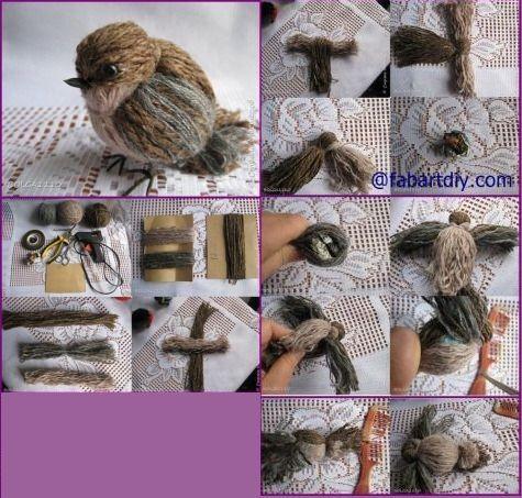 A madárkák elkészítéséhez különféle színárnyalatú fonalak szükségesek, plusz - craftIdea.org