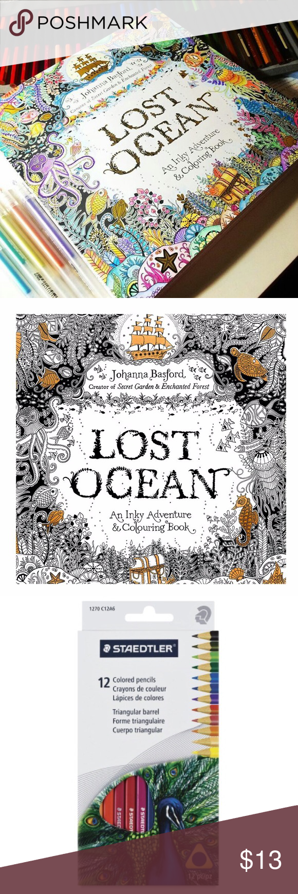 Lost Ocean Coloring Book Pencils Adult Comes With A Pack