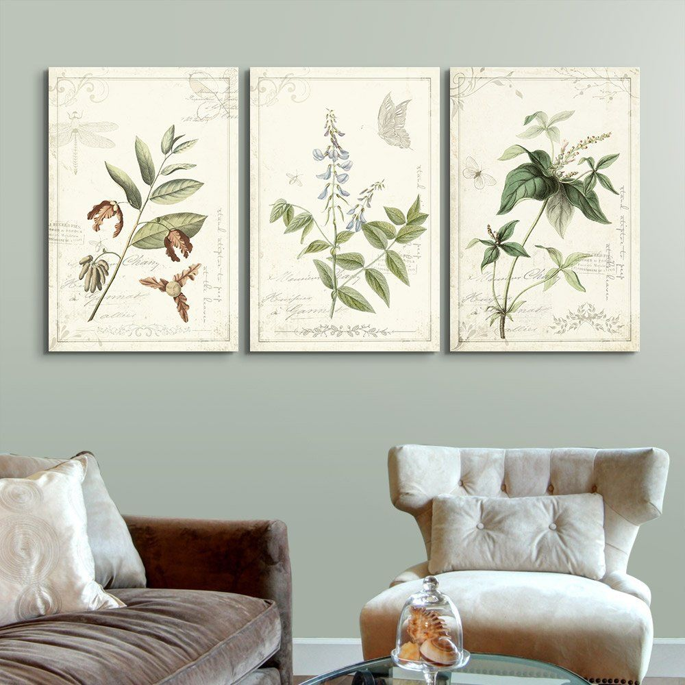 Wall26 3 Panel Canvas Wall Art Vintage Style Plant Leaves And Flowers Giclee Print Gallery Wrap Modern Home Decor Ready To Hang 24 X36 X 3 Panels Walma In