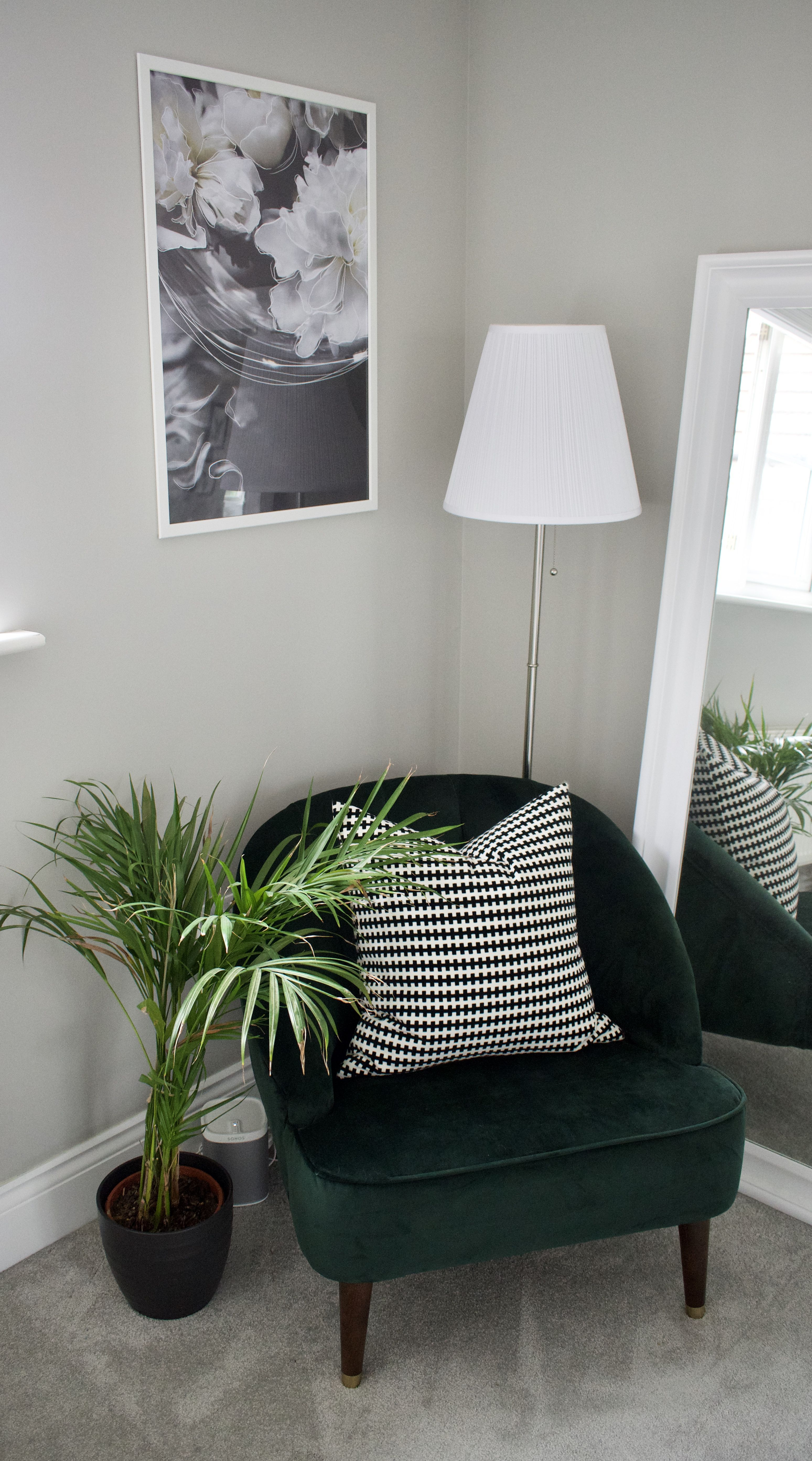 Forest Green Velvet Margot Chair From Made Com Positioned In A Cosy Corner To Create A Reading Corner In A Bedro Living Room Corner Corner Decor Bedroom Corner