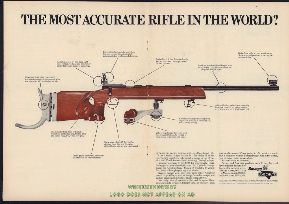 1967 Anschutz Super Match 54 Rifle Centerfold Ad Most Accurate Rifle