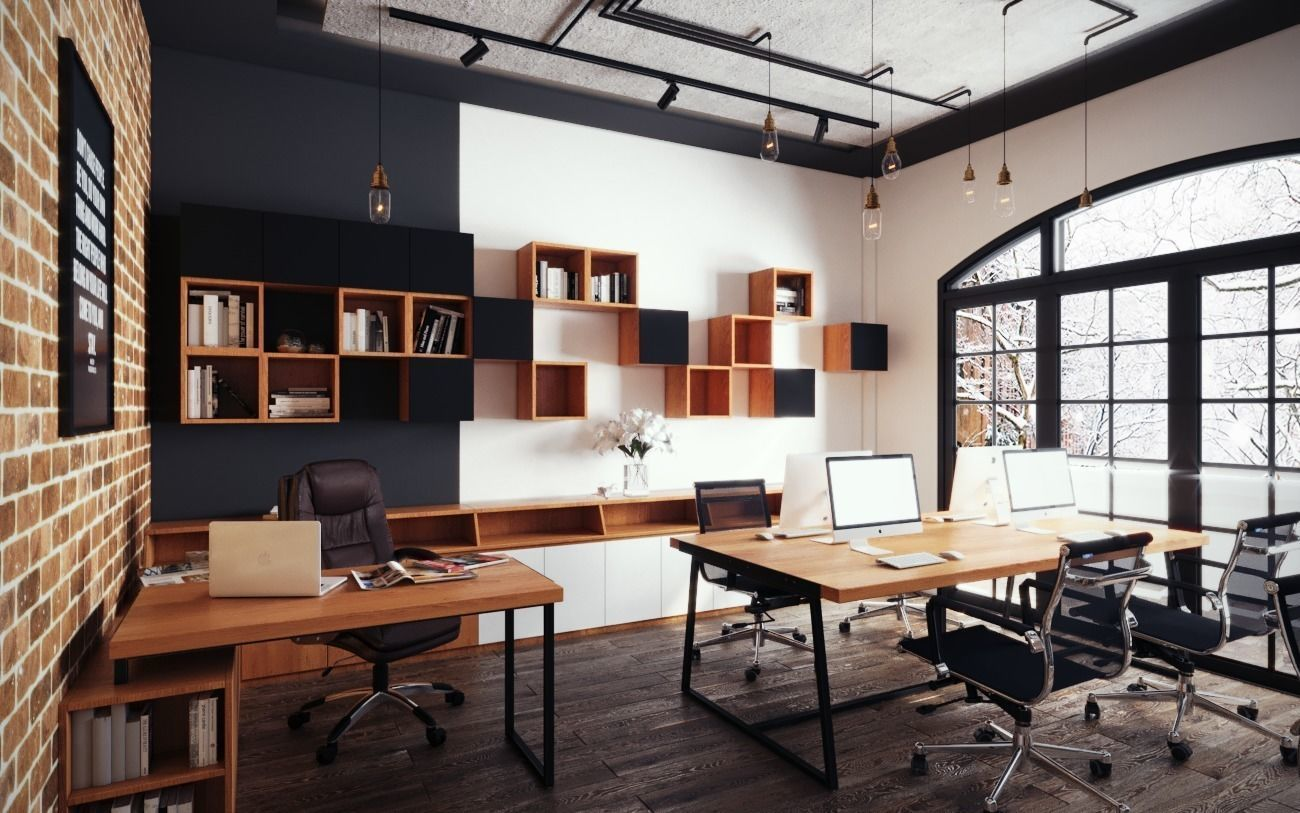 35 Industrial Home Office Design Ideas Industrial Home Offices Home Office Design Modern Office Design