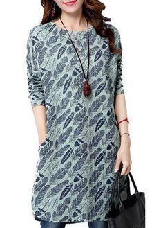 Long Sleeve Feather Print Curve Hem Dress  on sale only US$24.48 now, buy cheap Long Sleeve Feather Print Curve Hem Dress  at lulugal.com