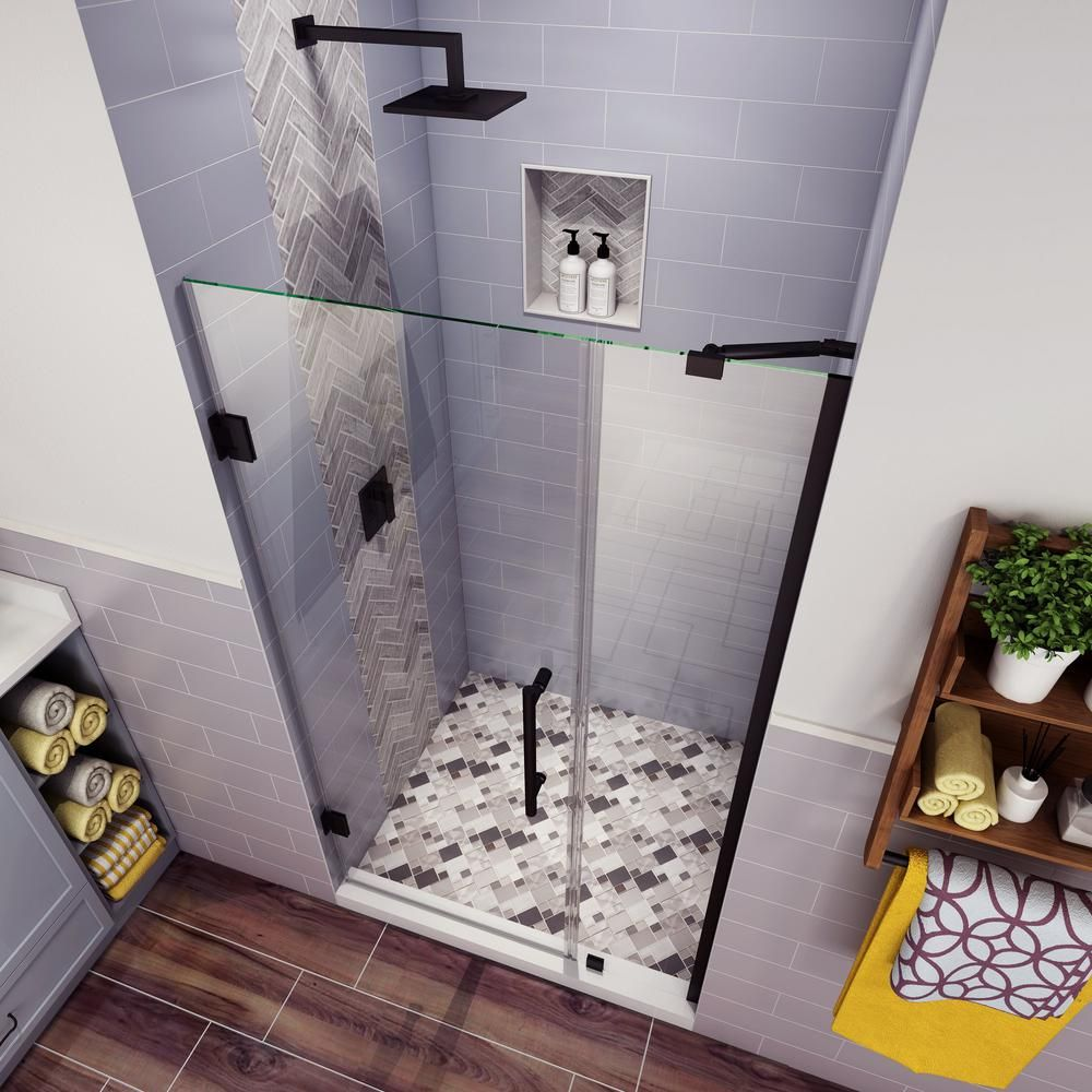 Aston Belmore 40 25 In To 41 25 In X 72 In Frameless Hinged Shower Door In Matte Black Sdr965ez Mb 4127 10 The Home Depot Frameless Hinged Shower Door Shower Doors Bathroom Design Small