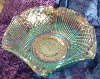 Stunning Vintage Opalescent Scalloped Aquamarine Blue Carnival Glass Bowl