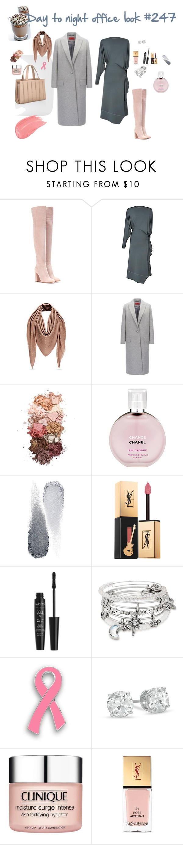 """""""Day to night office look #247"""" by modaelista ❤ liked on Polyvore featuring Gianvito Rossi, HUGO, Sigma, Chanel, Clé de Peau Beauté, Yves Saint Laurent, NYX, Alex and Ani and Clinique"""
