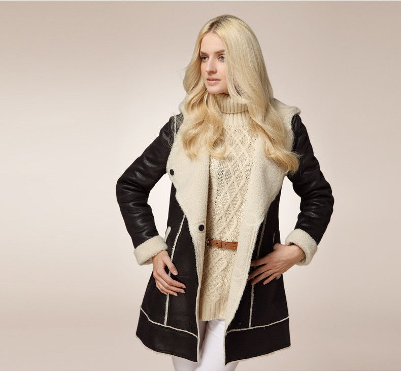 Popular Fashion Style! Ladies Warm Leather Shearling Lining Winter Designer Coat 2 Colors S-2XL
