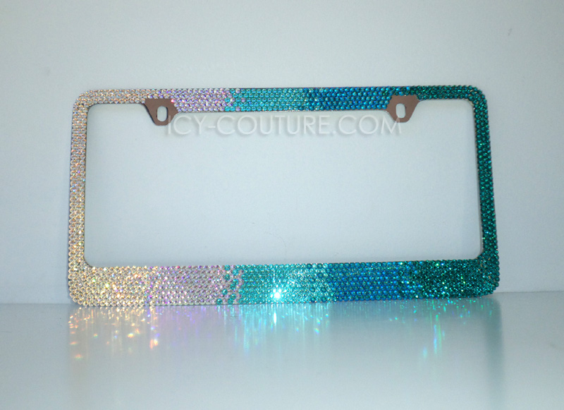 CAPRI BLUE Crystal Screw Caps for License Plate Frame made w// Swarovski Elements