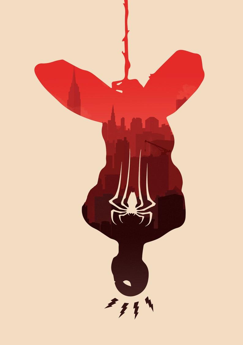 Spider-Man Art Print, Spider-Man Poster, Spiderman Art Print, Spiderman Poster, Alternative Movie Poster, Game Poster, Minimalist Marvel Pos