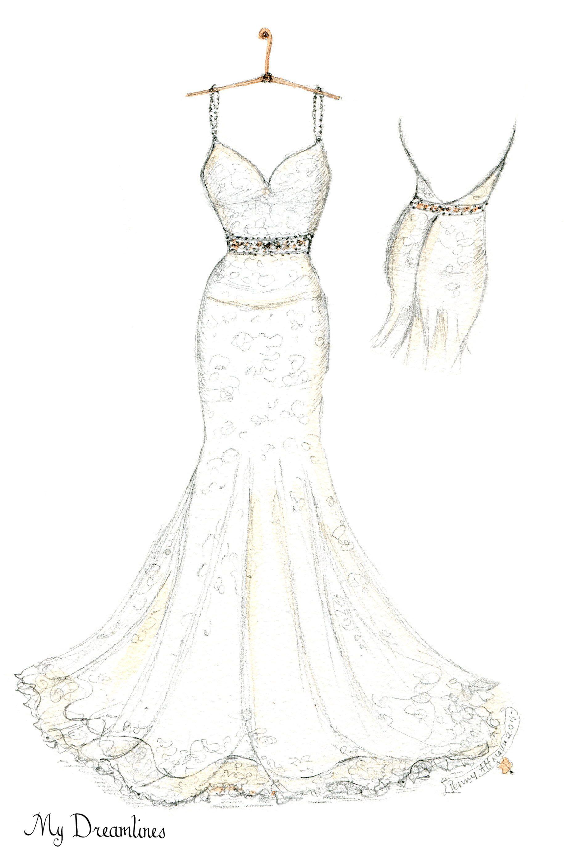 Wedding dress sketch created by dreamlines dreamlines