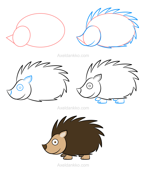 How to draw a hedgehog comment dessiner un h risson - Comment dessiner une vache facilement ...