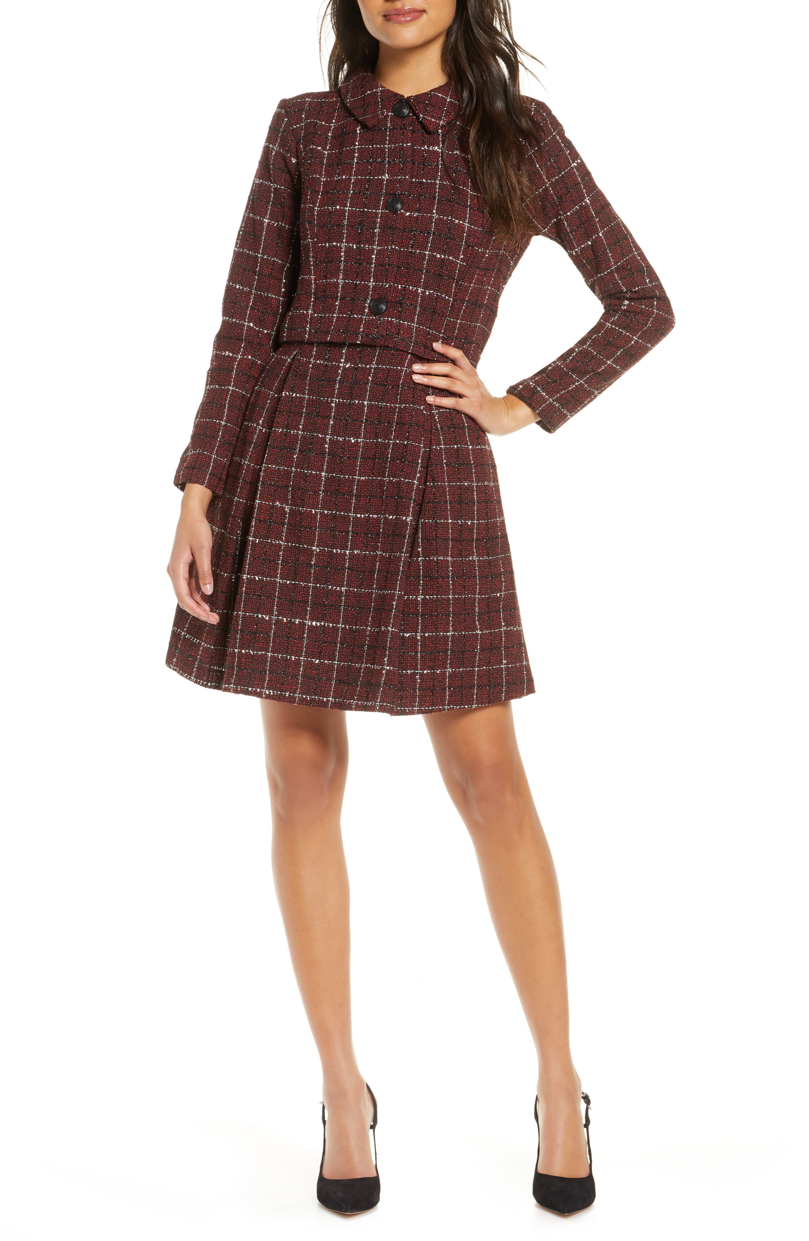 Julia Jordan Long Sleeve Mock Two-Piece Tweed Dress | Tweed dress, Nordstrom dresses, Clothes for women