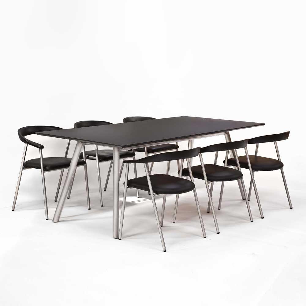 Esstisch mit Stühlen in Schwarz Silber Echtleder Edelstahl (7-teilig ...