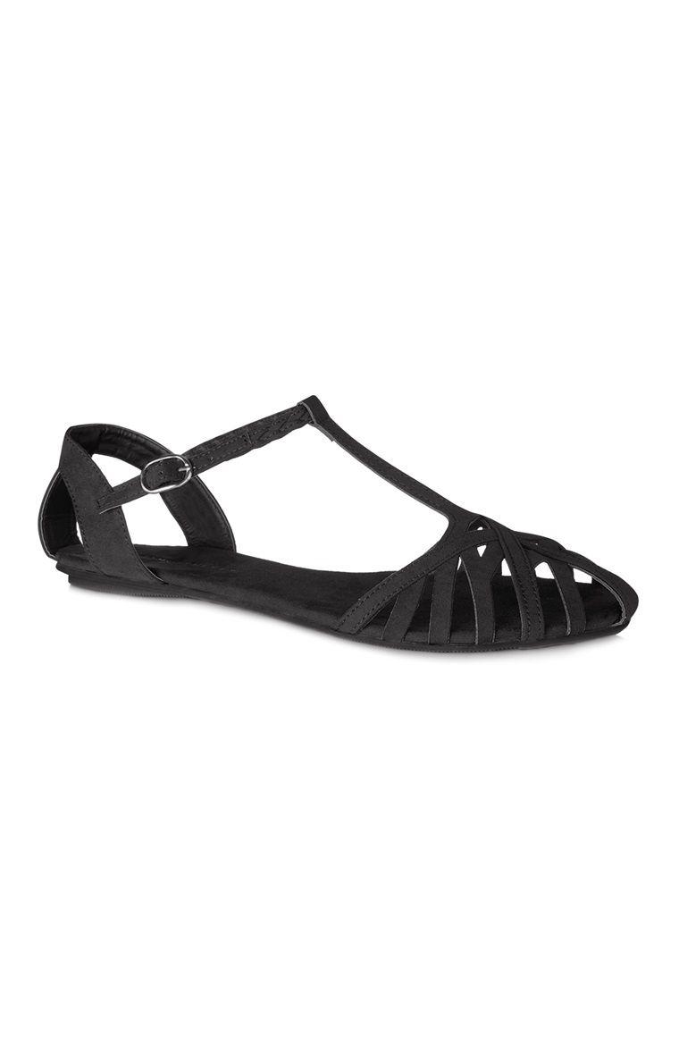 Sandálias com tiras preto