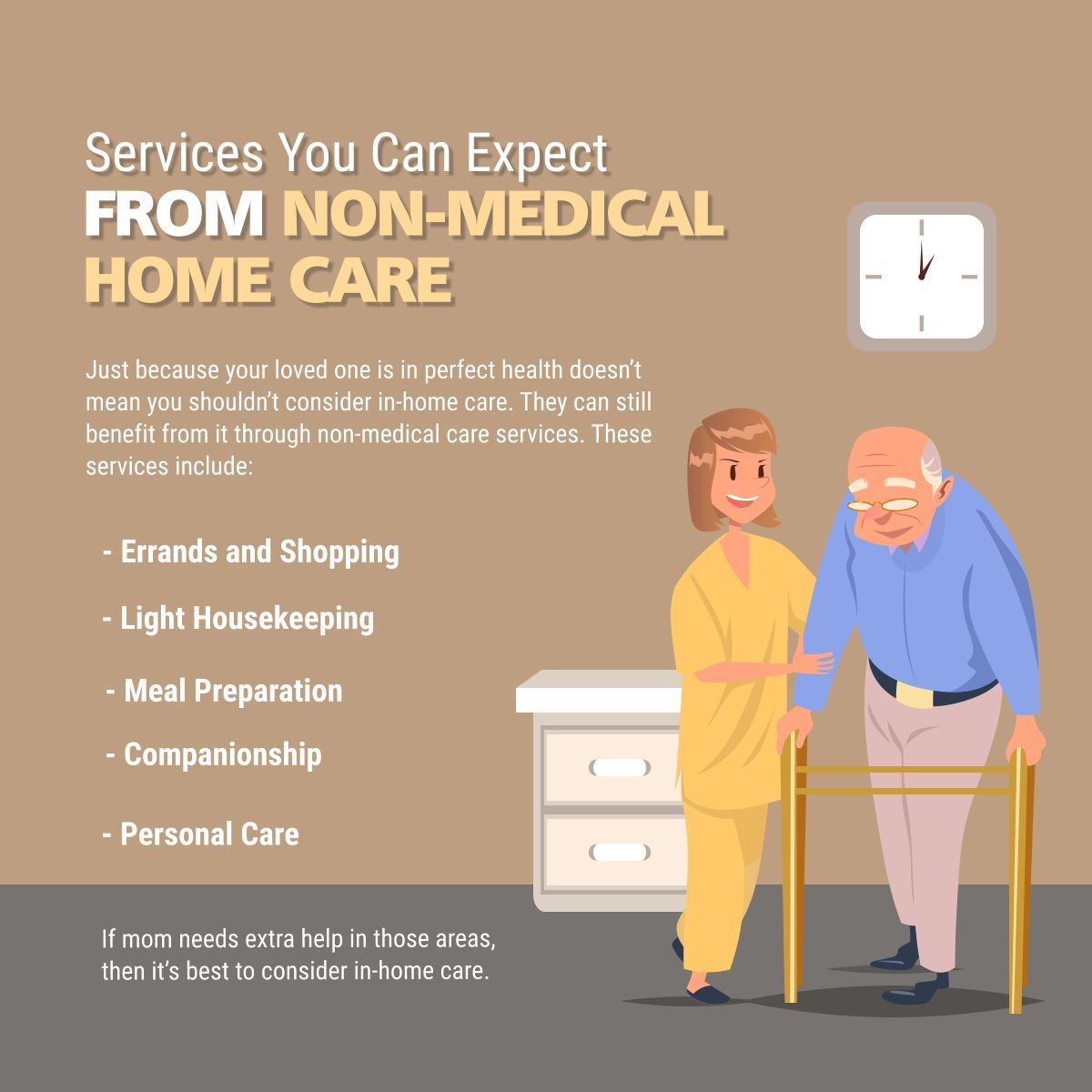 Services You Can Expect from NonMedical Home Care