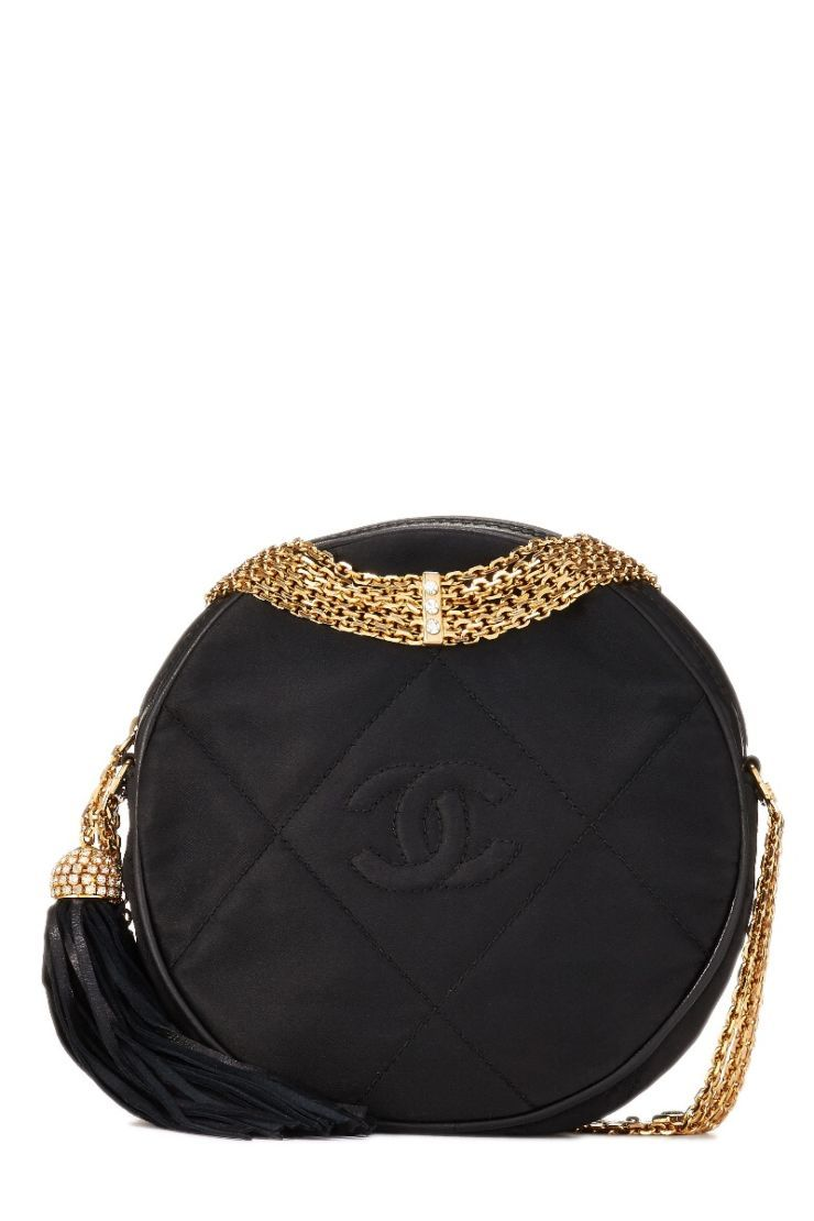 chanel handbags and shoes. Chanel Black Satin Diamond CC Circle Bag - What  Goes Around Comes Around 57089c33a5143