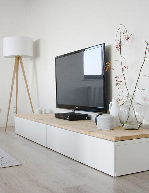 White And Pale Wood Living Room With Makeshift Media Console Living Room Scandinavian Home Living Room Minimalist Home