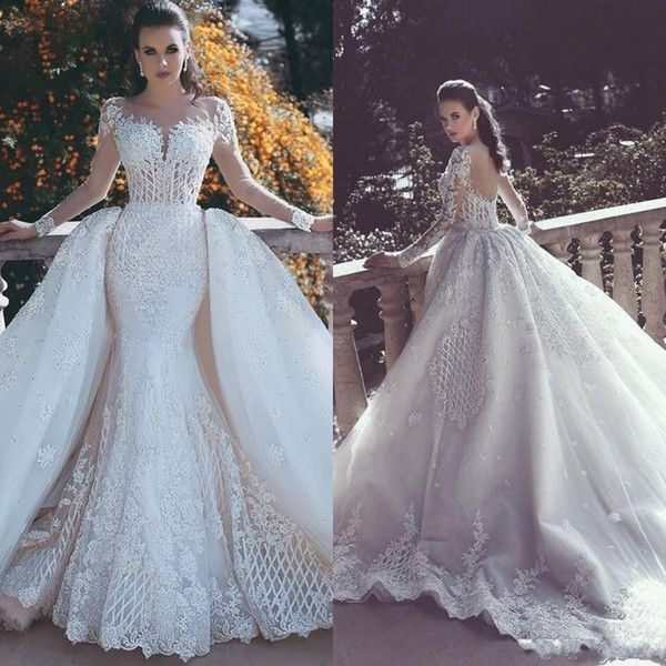 9fabdfdad09c7 2018 Vintage Mermaid Wedding Dresses Overskirts with Detachable Train Lace  Pearls Sheer Neck Long Sleeves Backless Bridal Gown Dubai 2018 from  julia4444, ...