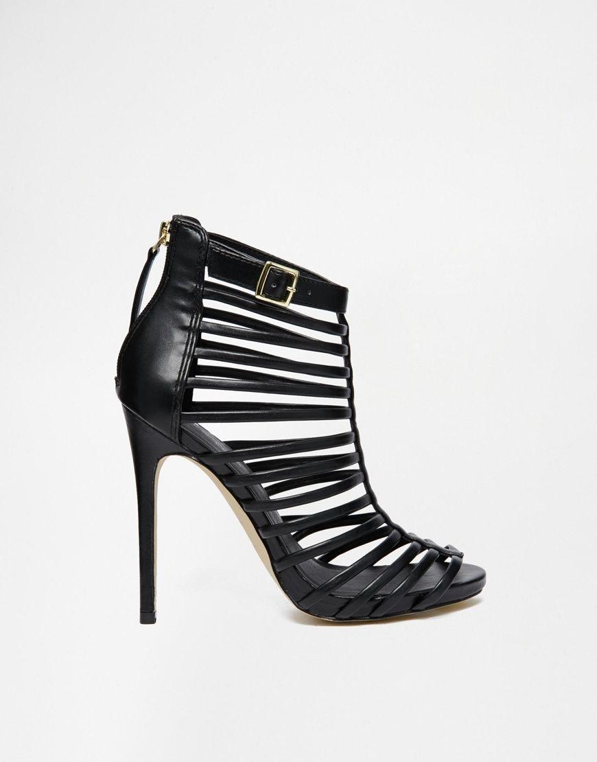 d47c2babdd3a Image 2 of New Look Teaser Caged Gladiator Black Heeled Sandals