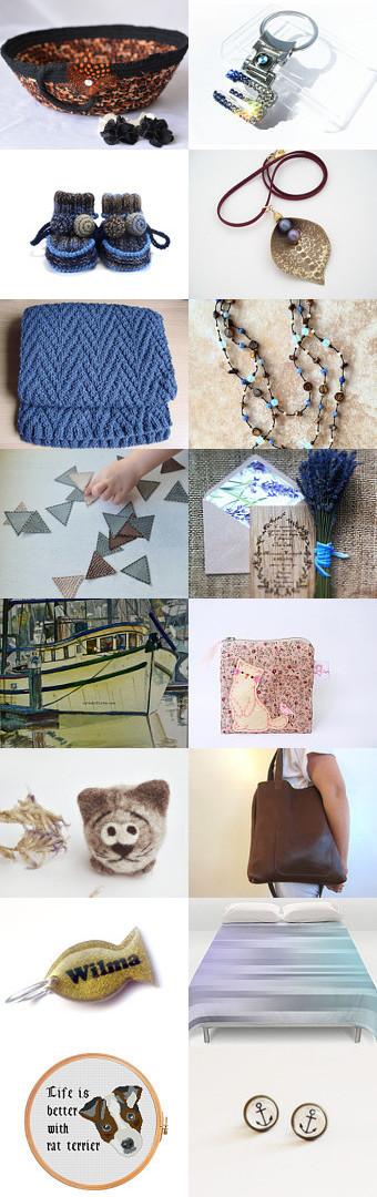 Blue Meets Brown by Julia on Etsy-  #etsy #treasury #fibernie #brown #basket #bowl #makeup #organizer #key #holder -Pinned with TreasuryPin.com