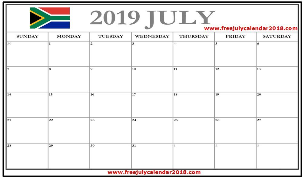 july 2019 calendar south africa