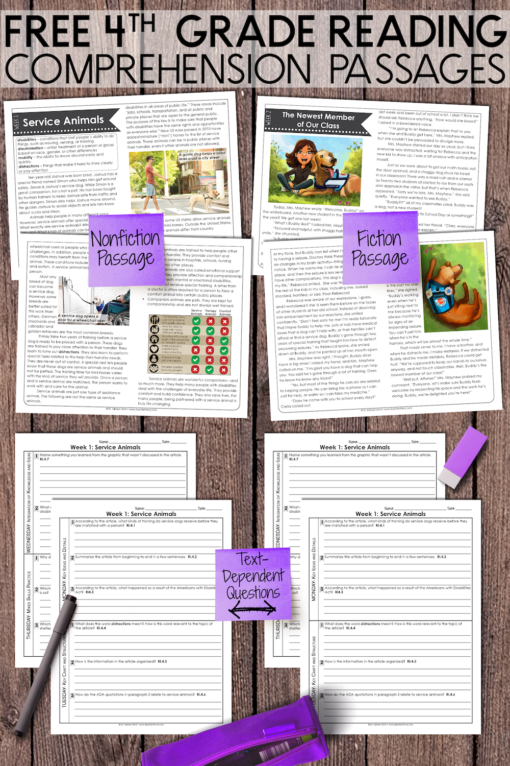 FREE Fourth Grade Weekly Reading Comprehension Nonfiction and Fiction •  Teacher Thrive   4th grade reading [ 1500 x 1000 Pixel ]