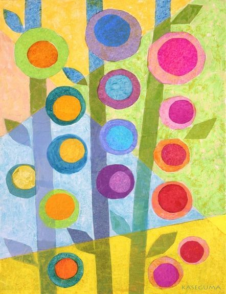 Flower Stalks Canvas Wall Art -- Great tissue paper art project! Shows blending of colors. Very pretty and Spring-like!