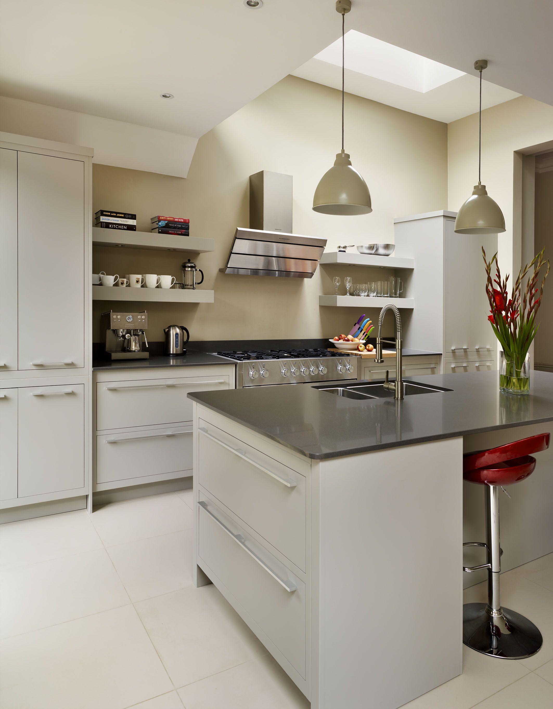 Harvey Jones Linear kitchen painted in Dulux 'Stone Green