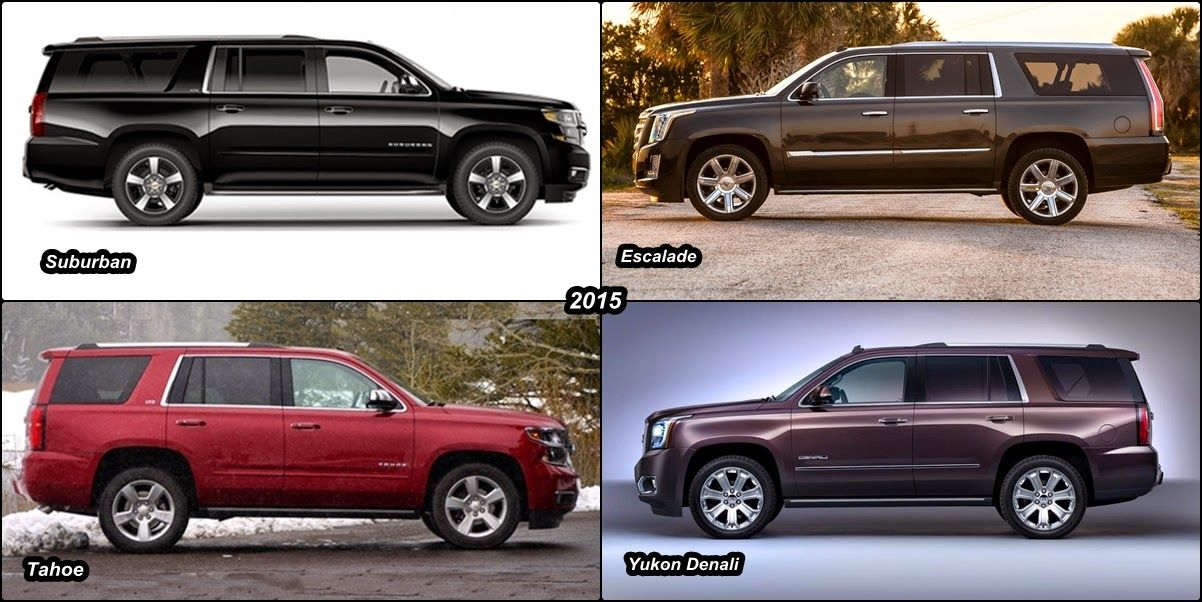 2015 Escalade Vs 2015 Chevy Suburban Vs 2015 Gmc Yukon Denali Vs 2015 Tahoe Compare Chevy Suburban Gmc Yukon Denali Chevy