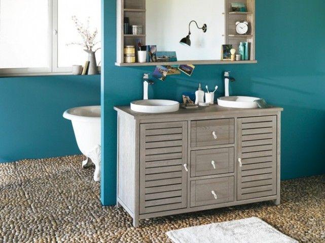 Salle de bains bleue sol galets | Bricolage | Pinterest | Salles ...
