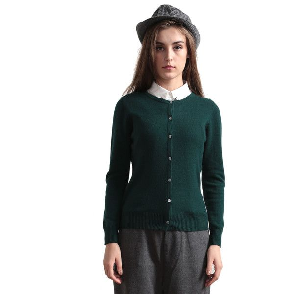 Dark Green Round Neck Rib Cashmere Cardigan ($145) ❤ liked on ...