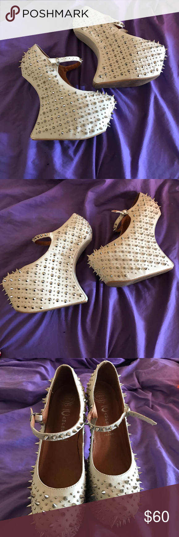 Jeffery Campbell prickly night walks size 8 Very unique pair of Jeffery Campbell night walks in beige.  They are a size 8. Jeffrey Campbell Shoes Ankle Boots & Booties