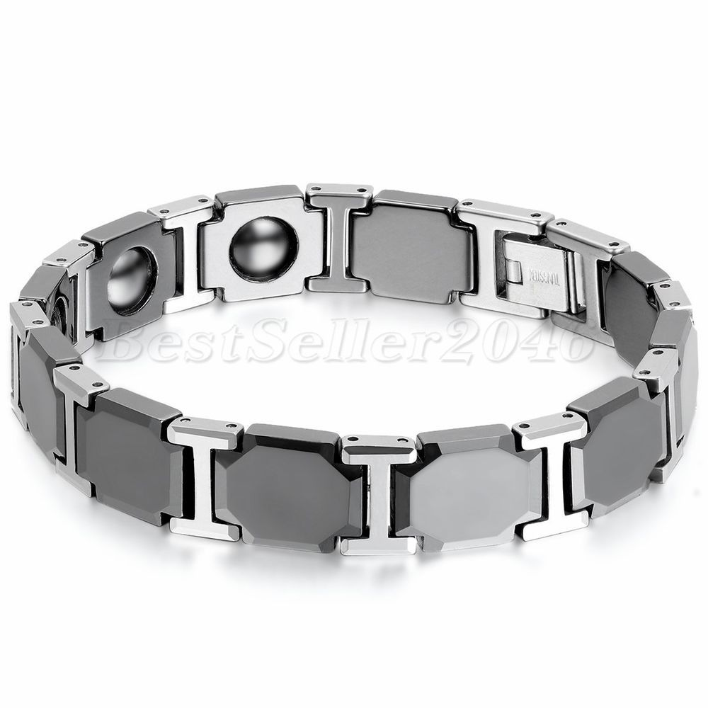 Men High-Polish Silver Tungsten & Black Ceramic Link Therapeutic Magnet Bracelet #Unbranded #Bangle