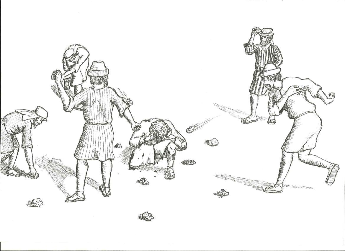 New Testament Illustration: Stoning of Stephen. Property ...