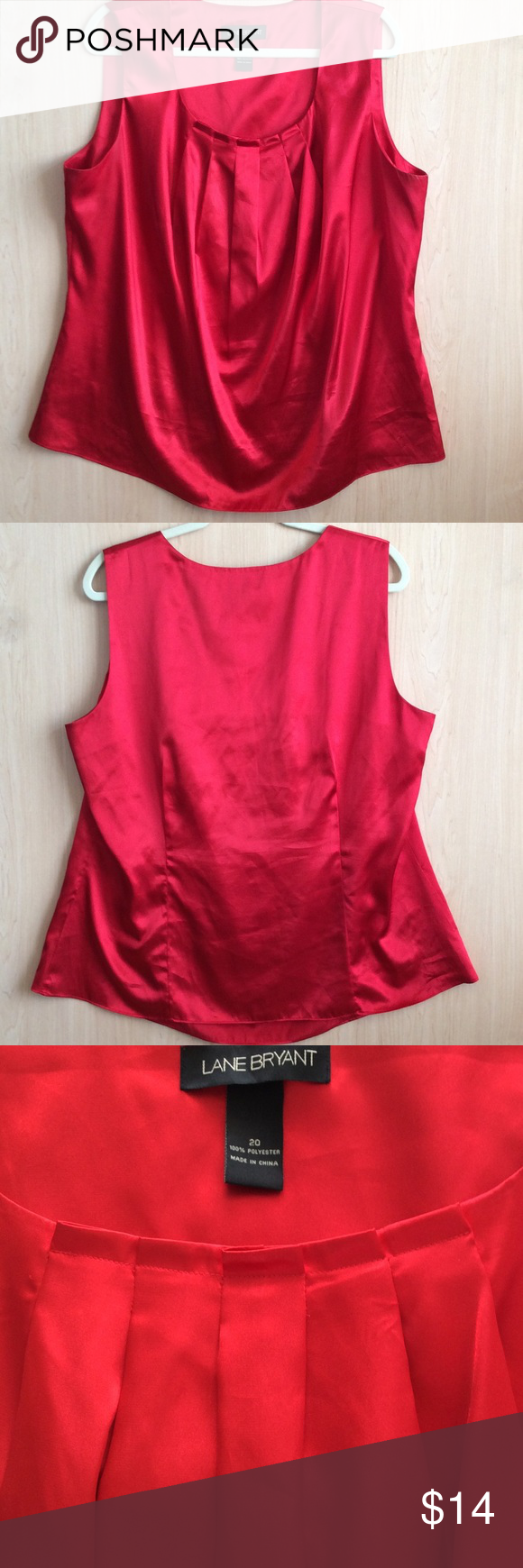 """PLUS SIZE LANE BRYANT TOP RED SILKY NO SLEEVED PLEATED TOP .47"""" BUST AND 27"""" LENGHT. BACK HAS A LINE BODICE. GOOD CONDITION LANE BRYANT Tops Blouses"""