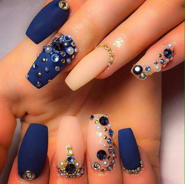 Blue and nude nails | Diseño de uñas | Pinterest | Uñas ballerina ...
