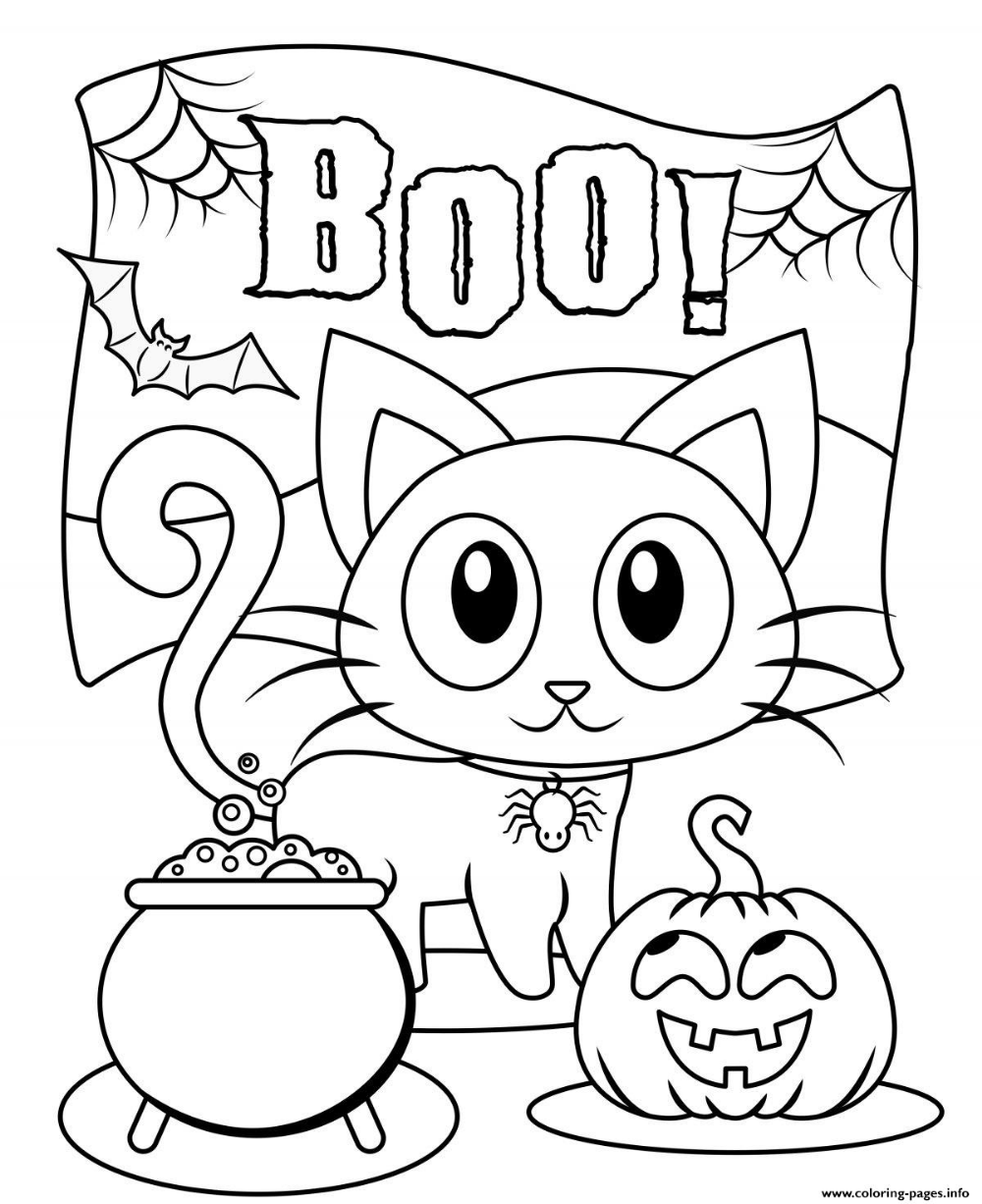 Print Halloween Boo Cat Cute Kids Coloring Pages Free Halloween Coloring Pages Halloween Coloring Book Monster Coloring Pages