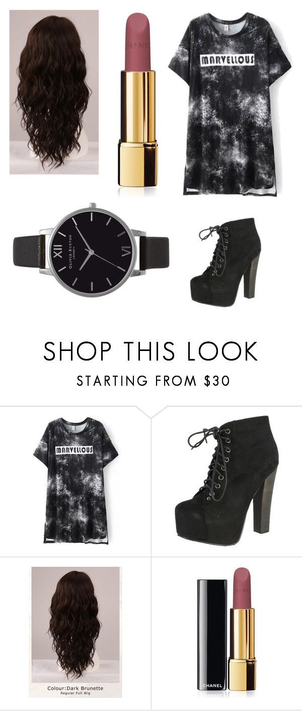 """""""Untitled #142"""" by bluzeyblonde ❤ liked on Polyvore featuring Breckelle's, WigYouUp, Chanel and Olivia Burton"""