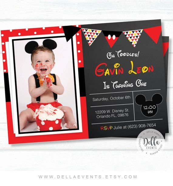 Mickey Mouse Invitation Invite Photo Bi