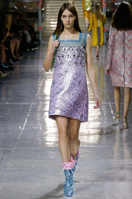 Miu Miu is taking shiny fabrics and making them look even more amazing. Love this dress. Add sleeves or cardi and trousers/jeans and et walla, suitable modest fashion.