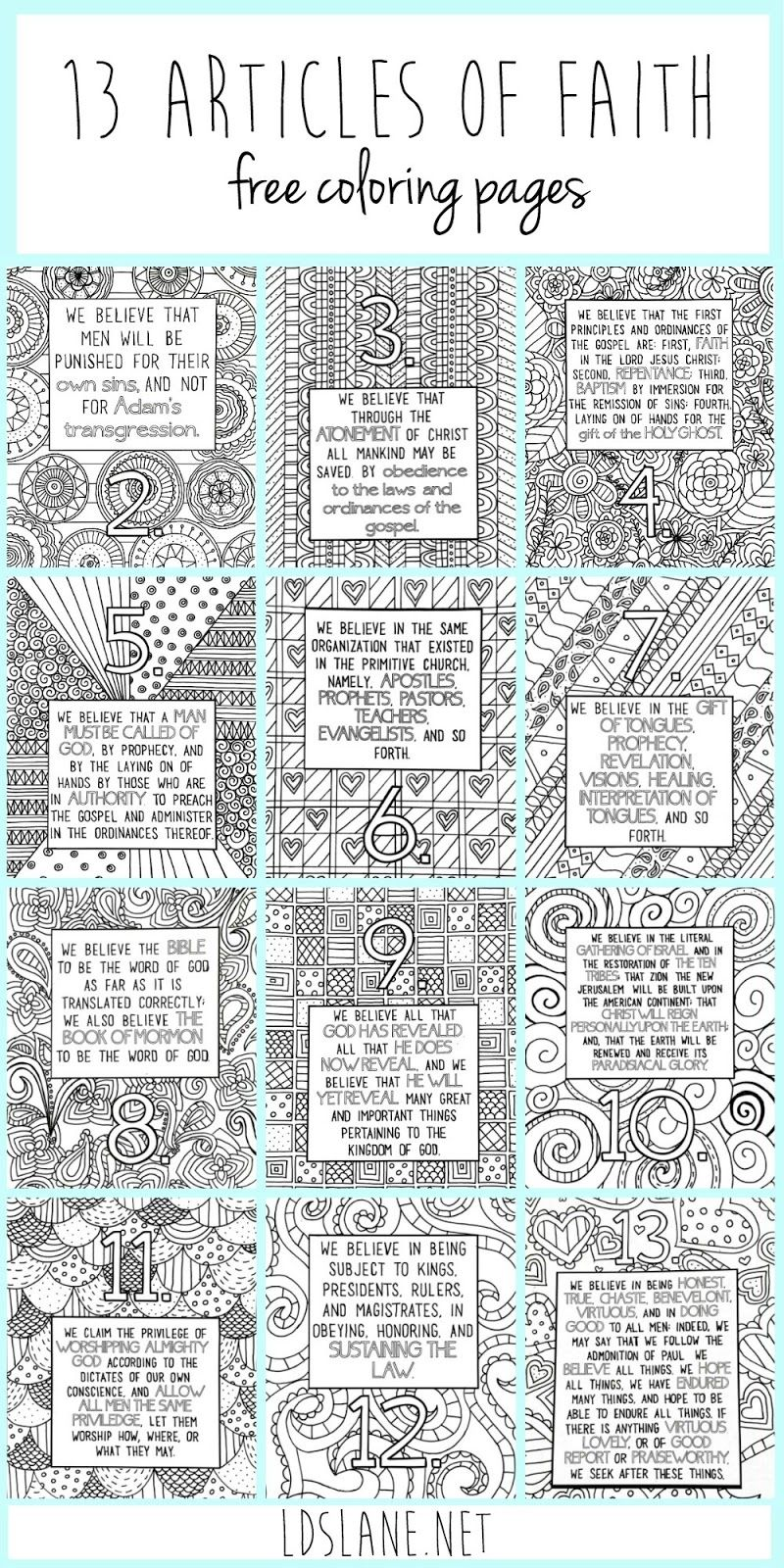 LDS Articles of Faith free printables - It's Always Autumn