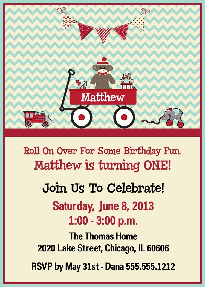 Red Wagon, Vintage Toys Birthday Party Invitation, Light Blue & Red ...