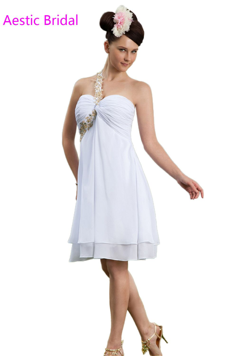 Click to buy ucuc rhinestone homecoming dresses white one shoulder