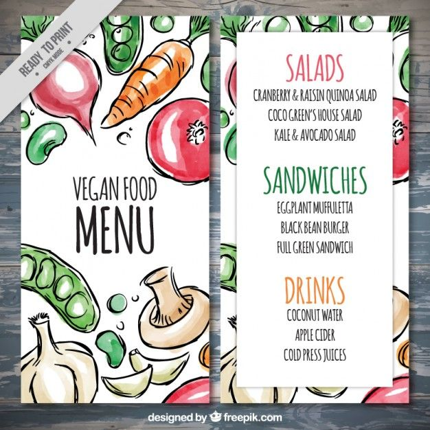 Menú vegano con comida de acuarela dibujada a mano  Vector Gratis