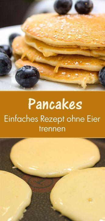 #amerikanische #Pancakes, einfaches und #schnelles Rezept: Ich mag an diesem Rezept, das es einfach ist und nicht kompliziert wie andere Pancake-Rezepte. Das Trennen der Eier und das separate Aufschlagen kann nervig sein, wenn du Morgens müde bist.