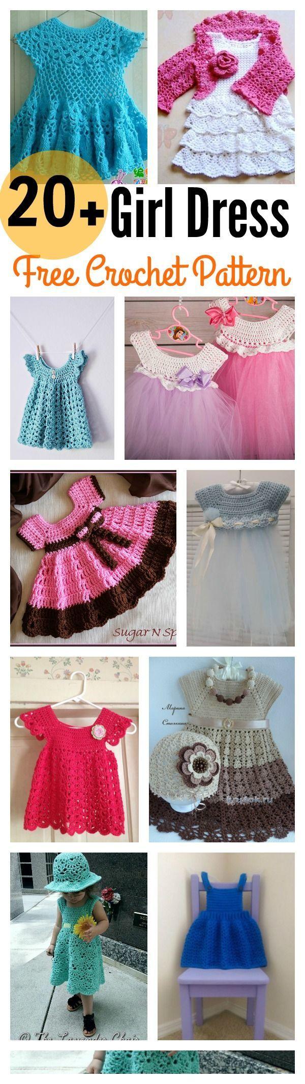 20+ Crochet Girl Dress with Free Pattern   Ganchillo   Pinterest ...