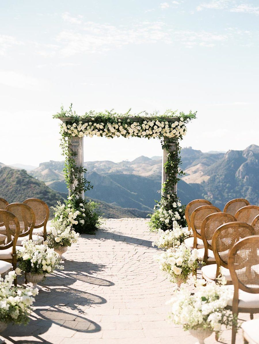 California Helipad Wedding With Verdant Florals Ruffled Garden Weddings Ceremony Vintage Wedding Ceremony Malibu Rocky Oaks Wedding