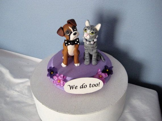 Cat and Dog Wedding Cake Topper We do too clay by PawsnClaws dog