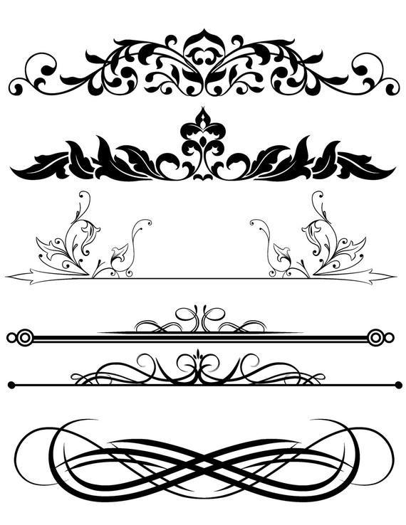 Design Clipart Mix Frames Scroll Divider Digital Download Clip Art Design Elements Transparent Background Orn Clip Art Altered Art Projects Clip Art Borders
